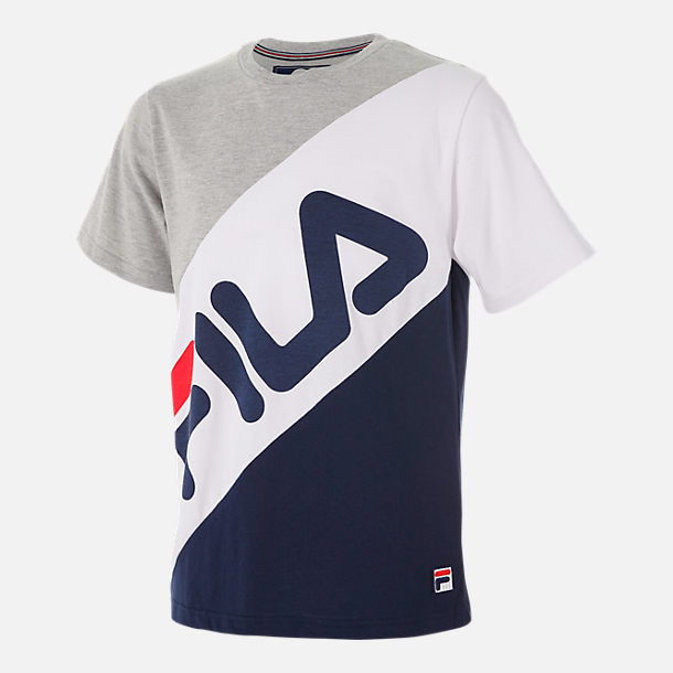 Front view of Boys' Fila Striped T-Shirt in Grey Heather/White/Navy