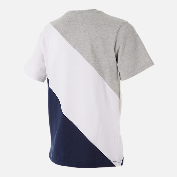 Back view of Boys' Fila Striped T-Shirt in Grey Heather/White/Navy