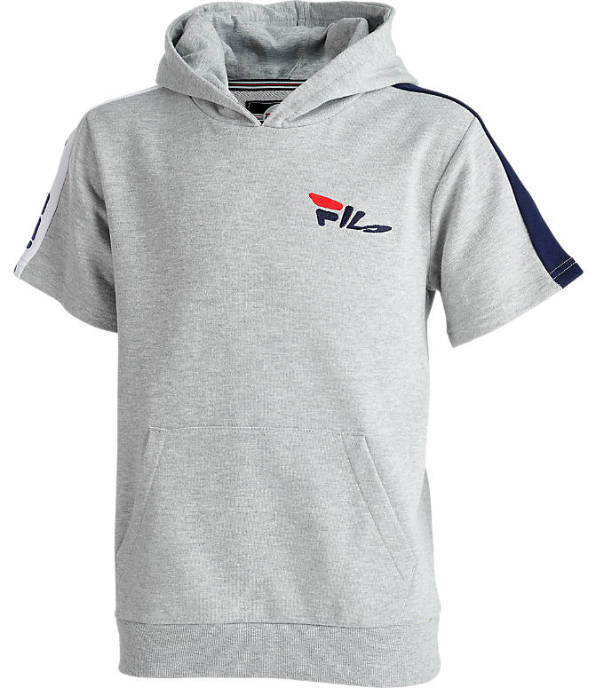 Front view of Boys' Fila Mindblower Short-Sleeve Hoodie in Grey Heather