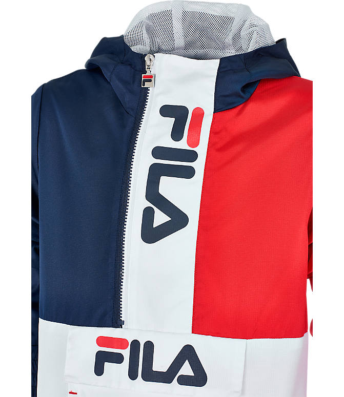 Product 3 view of Boys' Fila Half-Zip Windbreaker in Red/Navy/White