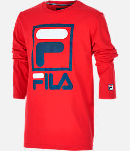Boys' Fila Stacked Logo Long-Sleeve T-Shirt