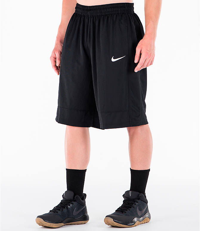 Front Three Quarter view of Men's Nike Fastbreak Basketball Shorts in Black/White