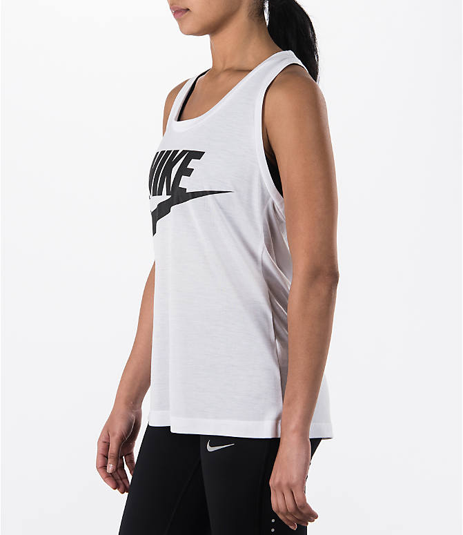 Front Three Quarter view of Women's Nike Essential Tank in White/Black