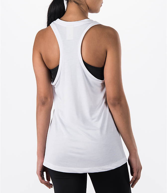 Back Right view of Women's Nike Essential Tank in White/Black