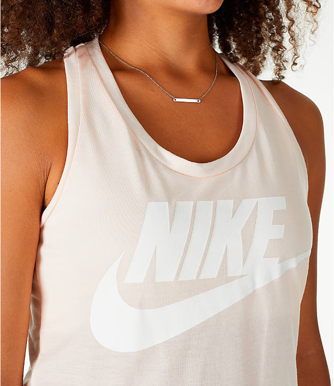 Detail 1 view of Women's Nike Essential Tank in Guava Ice/Guava Ice/White