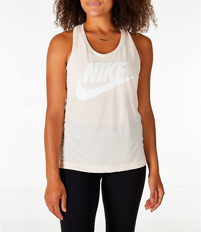 Front view of Women's Nike Essential Tank in Guava Ice/Guava Ice/White