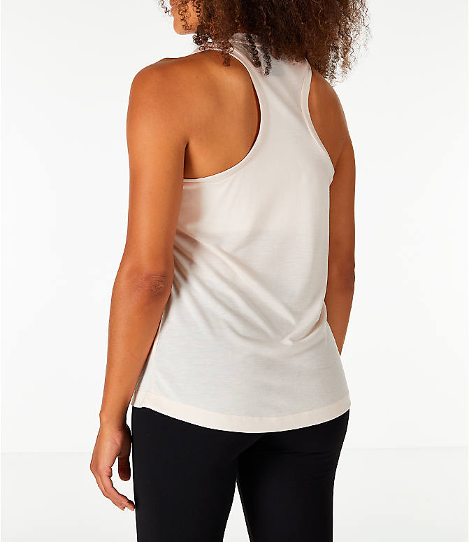 Back Left view of Women's Nike Essential Tank in Guava Ice/Guava Ice/White