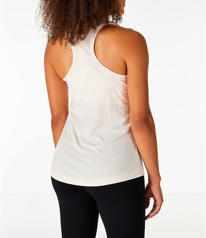 Back Right view of Women's Nike Essential Tank in Guava Ice/Guava Ice/White
