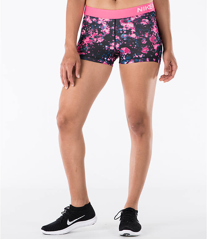 Front view of Women's Nike Pro Cool 3 Inch Training Shorts in Racer Pink/White