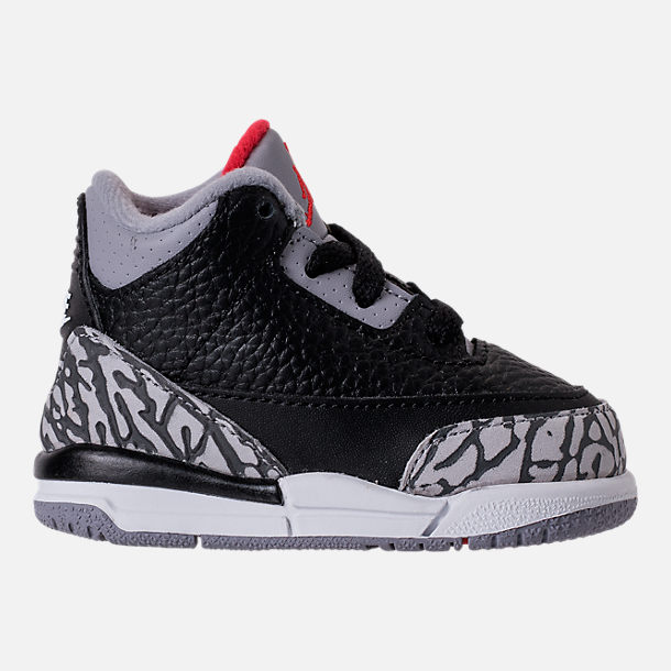 Right view of Kids' Toddler Jordan Retro 3 Basketball Shoes in Black/Fire Red/Cement Grey