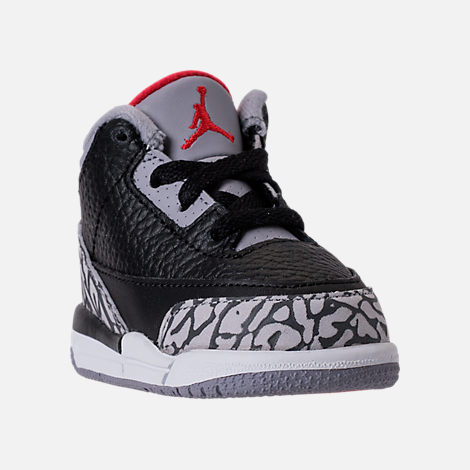 Three Quarter view of Kids' Toddler Jordan Retro 3 Basketball Shoes in Black/Fire Red/Cement Grey