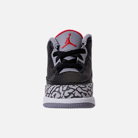 Front view of Kids' Toddler Jordan Retro 3 Basketball Shoes in Black/Fire Red/Cement Grey