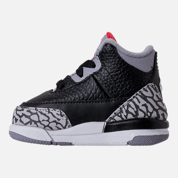 Left view of Kids' Toddler Jordan Retro 3 Basketball Shoes in Black/Fire Red/Cement Grey