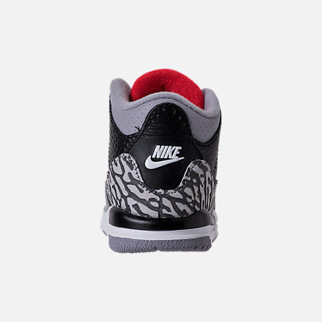 Back view of Kids' Toddler Jordan Retro 3 Basketball Shoes in Black/Fire Red/Cement Grey