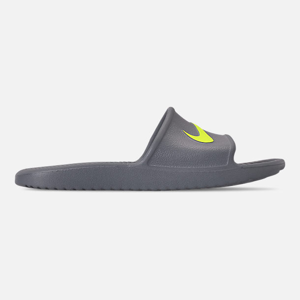 Right view of Men's Nike Kawa Slide Sandals in Cool Grey/Volt