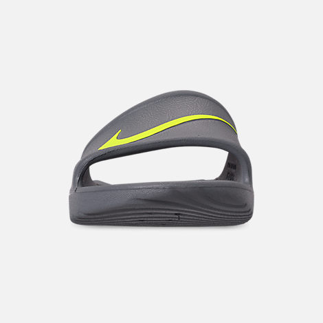 Front view of Men's Nike Kawa Slide Sandals in Cool Grey/Volt