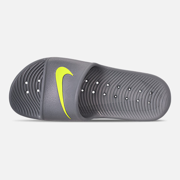 Top view of Men's Nike Kawa Slide Sandals in Cool Grey/Volt