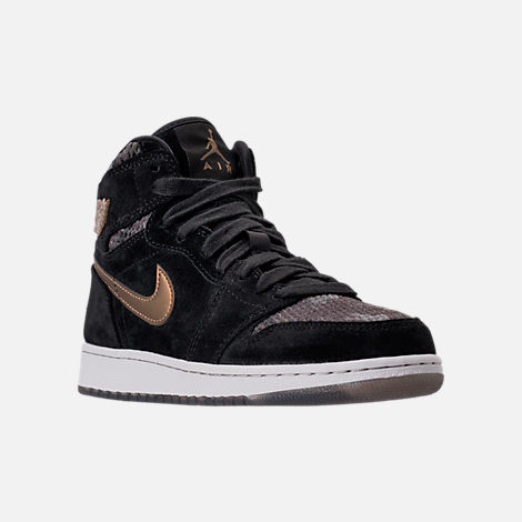 Three Quarter view of Girls' Grade School Air Jordan Retro 1 High Premium Heiress Collection (3.5y - 9.5y) Basketball Shoes in Black/Metallic Field/Light Bone