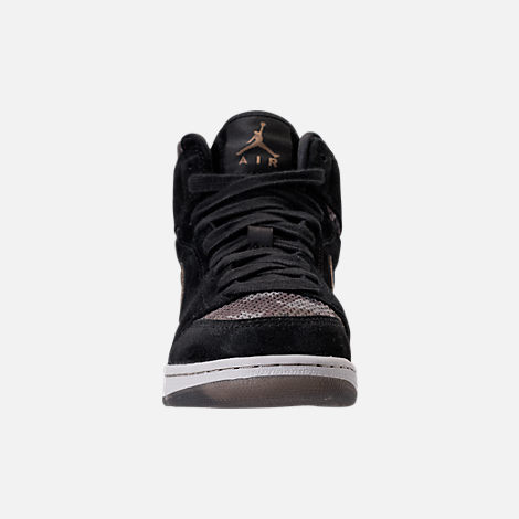 Front view of Girls' Grade School Air Jordan Retro 1 High Premium Heiress Collection (3.5y - 9.5y) Basketball Shoes in Black/Metallic Field/Light Bone