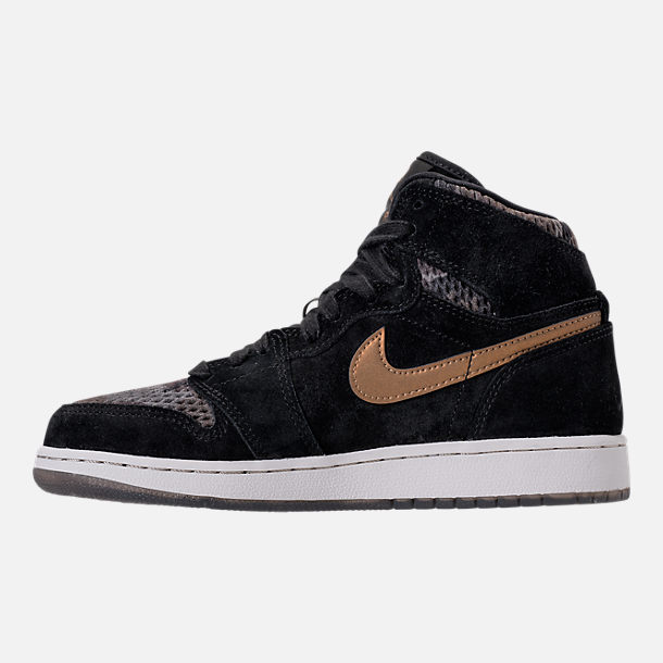 Left view of Girls' Grade School Air Jordan Retro 1 High Premium Heiress Collection (3.5y - 9.5y) Basketball Shoes in Black/Metallic Field/Light Bone