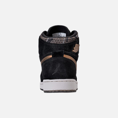 Back view of Girls' Grade School Air Jordan Retro 1 High Premium Heiress Collection (3.5y - 9.5y) Basketball Shoes in Black/Metallic Field/Light Bone