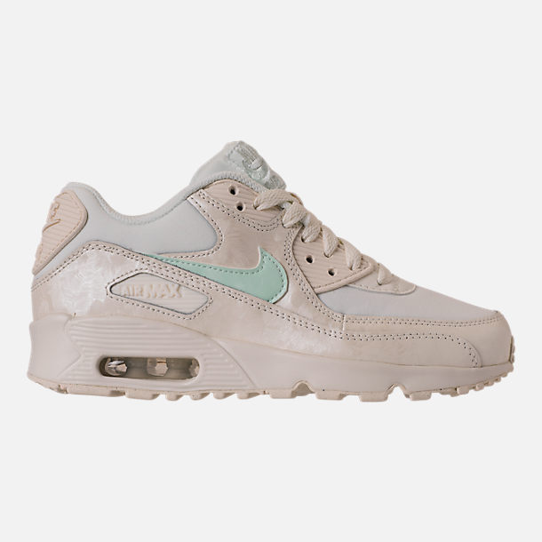 Right view of Girls' Big Kids' Nike Air Max 90 Mesh Running Shoes in Sail/Igloo