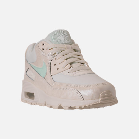 Three Quarter view of Girls' Grade School Nike Air Max 90 Mesh Running Shoes in Sail/Igloo