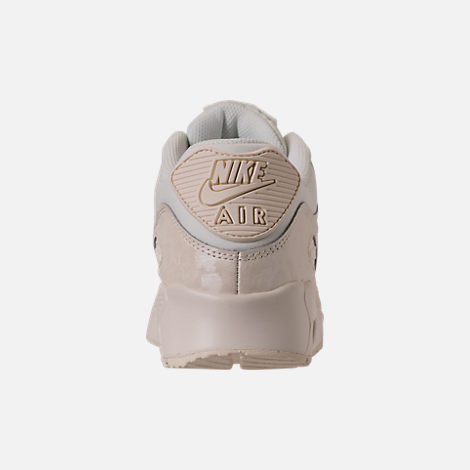 Back view of Girls' Big Kids' Nike Air Max 90 Mesh Running Shoes in Sail/Igloo