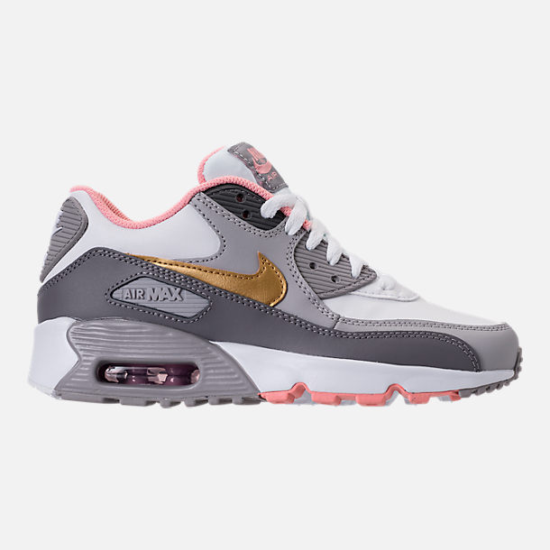 Right view of Girls' Big Kids' Nike Air Max 90 Leather Casual Shoes in Gunsmoke/Metallic Gold/Atmosphere Grey