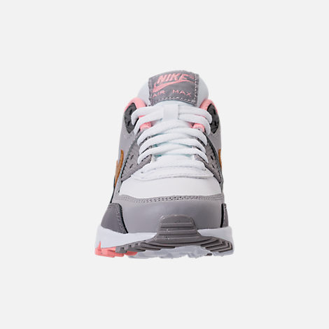 Front view of Girls' Big Kids' Nike Air Max 90 Leather Casual Shoes in Gunsmoke/Metallic Gold/Atmosphere Grey