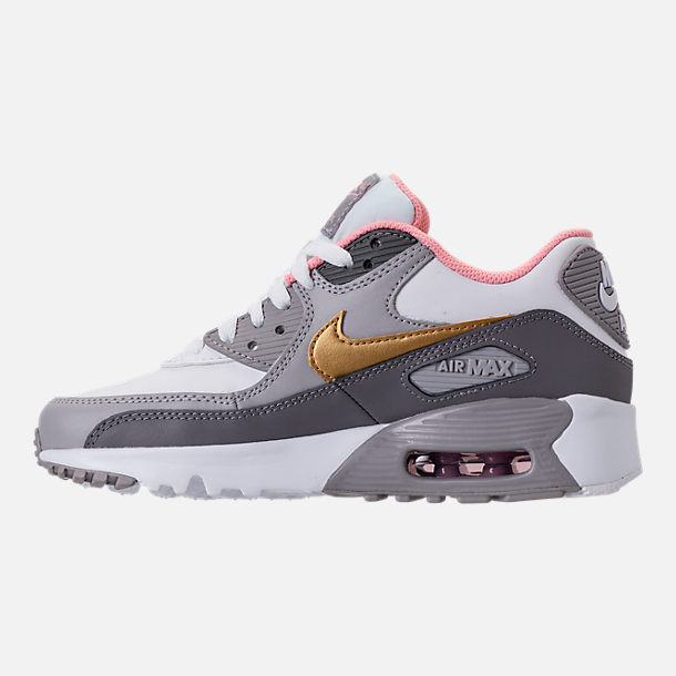 Left view of Girls' Big Kids' Nike Air Max 90 Leather Casual Shoes in Gunsmoke/Metallic Gold/Atmosphere Grey