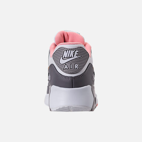Back view of Girls' Big Kids' Nike Air Max 90 Leather Casual Shoes in Gunsmoke/Metallic Gold/Atmosphere Grey