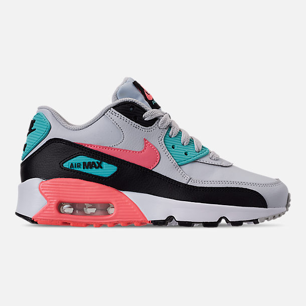 Right view of Girls' Big Kids' Nike Air Max 90 Leather Casual Shoes in Pure Platinum/Lava Glow/Black/Aurora
