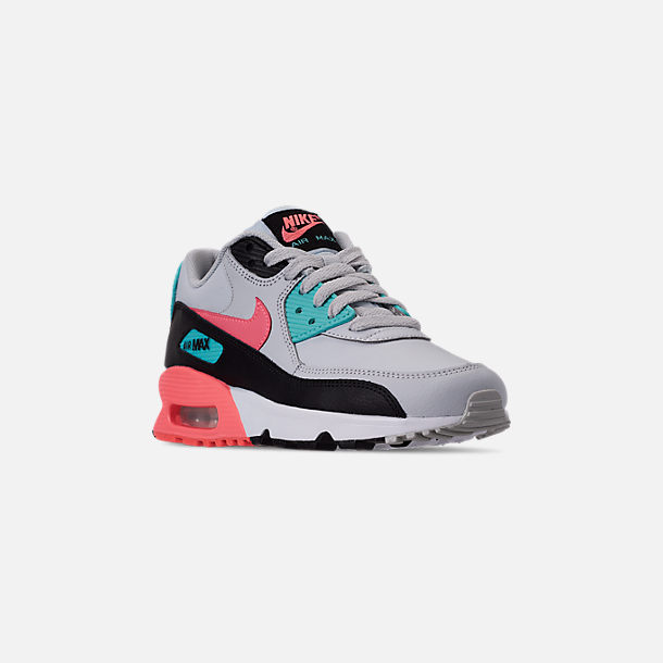 Three Quarter view of Girls' Big Kids' Nike Air Max 90 Leather Casual Shoes in Pure Platinum/Lava Glow/Black/Aurora