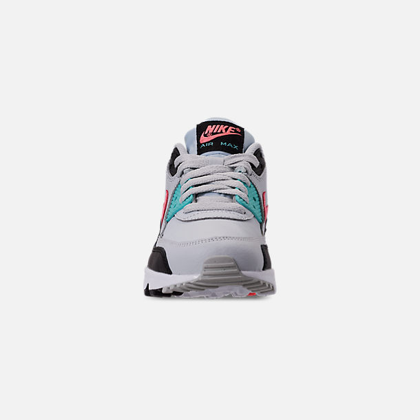 Front view of Girls' Big Kids' Nike Air Max 90 Leather Casual Shoes in Pure Platinum/Lava Glow/Black/Aurora