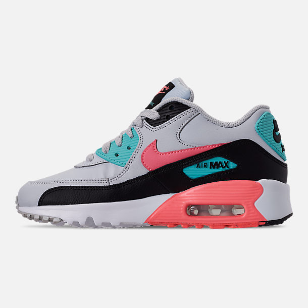 Left view of Girls' Big Kids' Nike Air Max 90 Leather Casual Shoes in Pure Platinum/Lava Glow/Black/Aurora