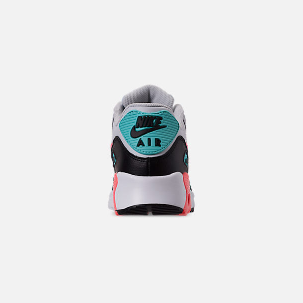 Back view of Girls' Big Kids' Nike Air Max 90 Leather Casual Shoes in Pure Platinum/Lava Glow/Black/Aurora