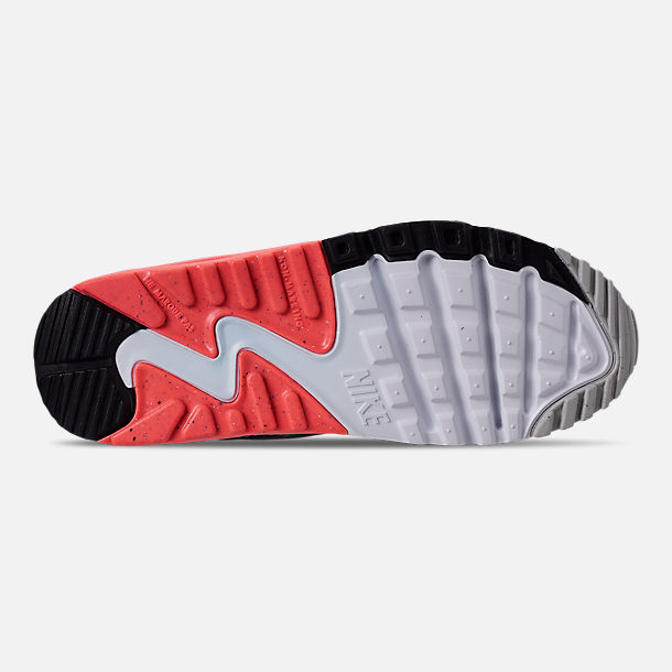 Bottom view of Girls' Big Kids' Nike Air Max 90 Leather Casual Shoes in Pure Platinum/Lava Glow/Black/Aurora