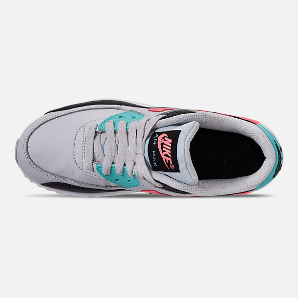 Top view of Girls' Big Kids' Nike Air Max 90 Leather Casual Shoes in Pure Platinum/Lava Glow/Black/Aurora
