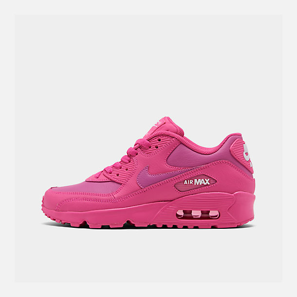 Right view of Girls' Big Kids' Nike Air Max 90 Leather Casual Shoes in Laser Fuchsia/White