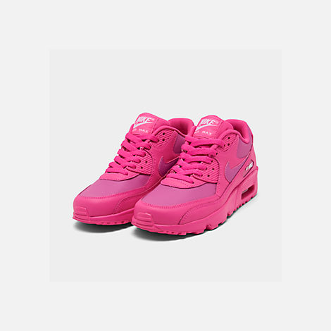 Three Quarter view of Girls' Big Kids' Nike Air Max 90 Leather Casual Shoes in Laser Fuchsia/White