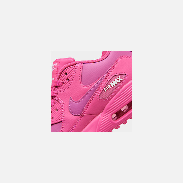 Front view of Girls' Big Kids' Nike Air Max 90 Leather Casual Shoes in Laser Fuchsia/White