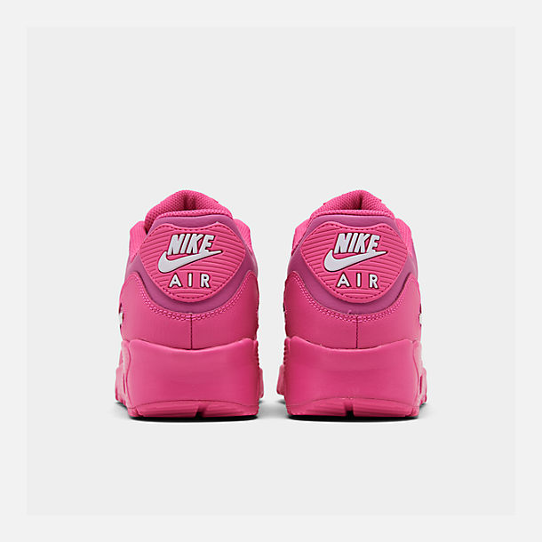 Left view of Girls' Big Kids' Nike Air Max 90 Leather Casual Shoes in Laser Fuchsia/White