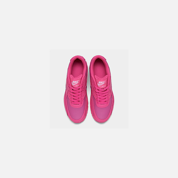 Back view of Girls' Big Kids' Nike Air Max 90 Leather Casual Shoes in Laser Fuchsia/White