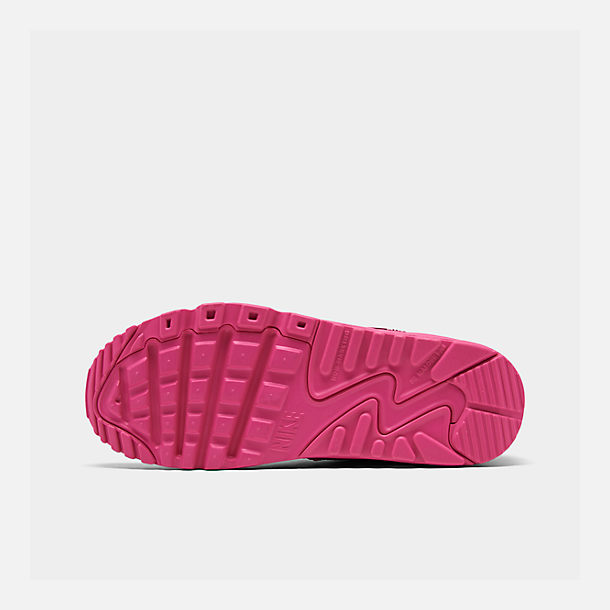 Bottom view of Girls' Big Kids' Nike Air Max 90 Leather Casual Shoes in Laser Fuchsia/White