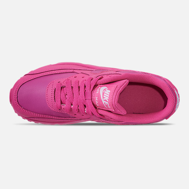 Top view of Girls' Big Kids' Nike Air Max 90 Leather Casual Shoes in Laser Fuchsia/White