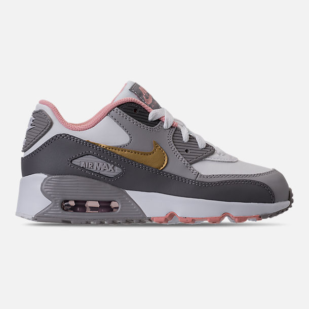 Right view of Girls' Preschool Nike Air Max 90 Leather Running Shoes in Gunsmoke/Metallic Gold/Atmoshpere Grey