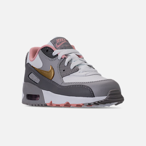 Three Quarter view of Girls' Preschool Nike Air Max 90 Leather Running Shoes in Gunsmoke/Metallic Gold/Atmoshpere Grey
