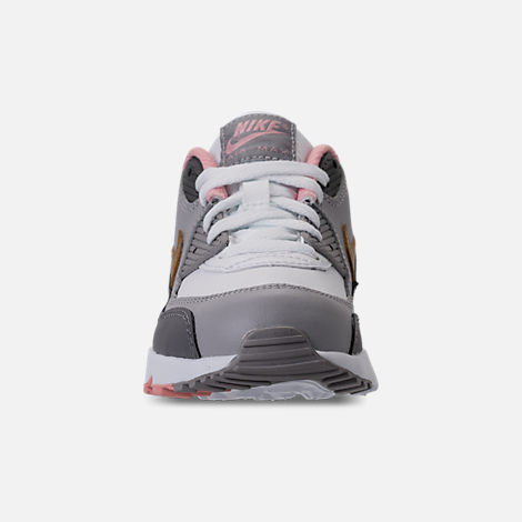 Front view of Girls' Preschool Nike Air Max 90 Leather Running Shoes in Gunsmoke/Metallic Gold/Atmoshpere Grey