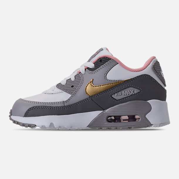Left view of Girls' Preschool Nike Air Max 90 Leather Running Shoes in Gunsmoke/Metallic Gold/Atmoshpere Grey